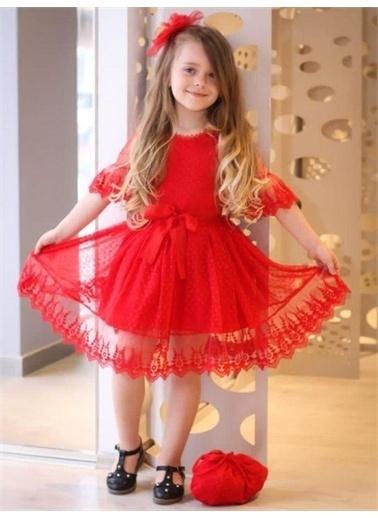 Riccotarz Kız Çocuk Prenses Güpürlü Çantalı Elbise Kırmızı